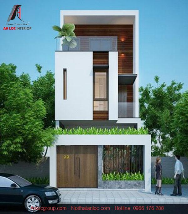 Thiết kế nhà 3 tầng 5x16m với cách phối hợp màu sắc tinh tế, uyển chuyển