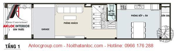 Bản vẽ thiết kế nhà 3 tầng diện tích 5x16m với mặt bằng 1 bố trí đơn giản, khoa học