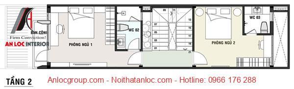 Mẫu nhà đẹp 5x16m có tầng 2 gồm 2 phòng ngủ , khu vực vệ sinh và ban công rộng rãi để gia chủ hóng mát