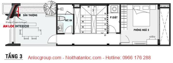 Thiết kế nhà diện tích 5x16m với tầng 3 rộng rãi tạo cảm giác dễ chịu, gợi mở