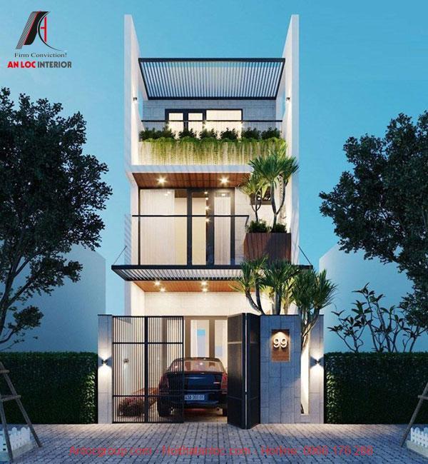 Thiết kế nhà diện tích 5x16m với màu xanh tự nhiên đem đến cảm giác thoải mái, dễ chịu