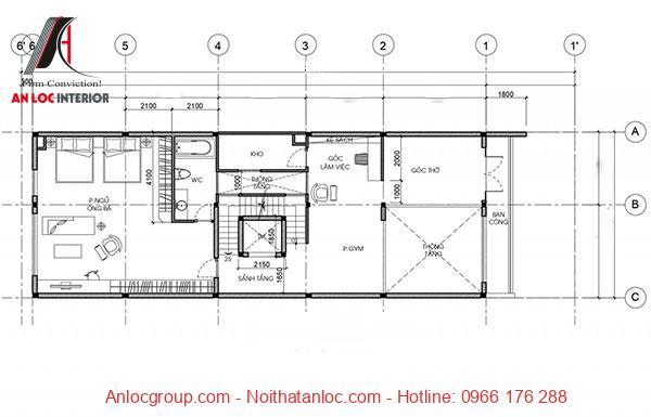 Kiến trúc tầng 3 bố trí đơn giản đi kèm với công năng hiệu quả