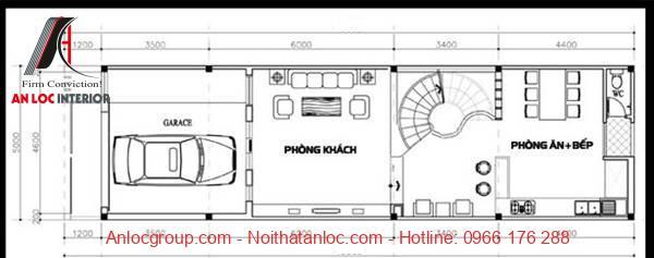 Mẫu nhà 3 tầng có gara để xe kết hợp với phòng ăn, bếp
