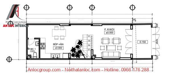 Bản vẽ tầng 1 của thiết kế nhà 3 tầng 5x16m đơn giản, khoa học đến từng chi tiết