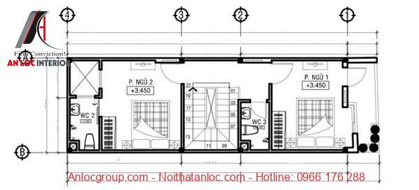 Tầng 2 của mẫu nhà ống 3 tầng 5x16m bố trí gồm 2 phòng ngủ có diện tích cân bằng nhau