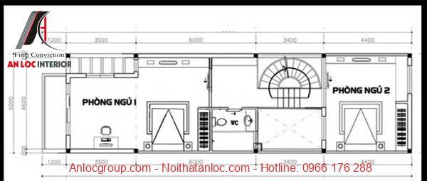 Bản vẽ thiết kế nhà diện tích 5x16m bố trí tầng 2 gồm 2 phòng ngủ