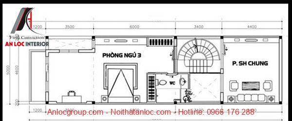 Tầng 3 của nhà đẹp 5x16m bố trí đơn giản, đảm bảo không gia sinh hoạt chung cho gia đình