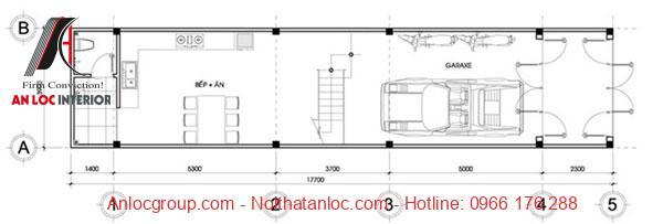 Thiết kế nhà diện tích 5x16m có bếp ăn được bố trí cùng với gara để xe giúp diện tích sử dụng được tiết kiếm hiệu quả