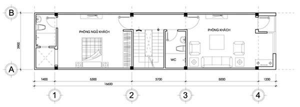 Bản vẽ thiết kế nhà 3 tầng với tầng 2 gồm phòng khách và phòng ngủ cho khách