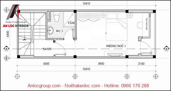 Thiết kế nhà 50m2 có phòng vệ sinh được bố trí đều ở các tầng tạo nên sự tiện nghi cho gia chủ
