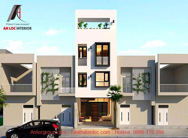 Thiết kế nhà 50m2 3 tầng với ô cửa lớn ở các tầng chức năng