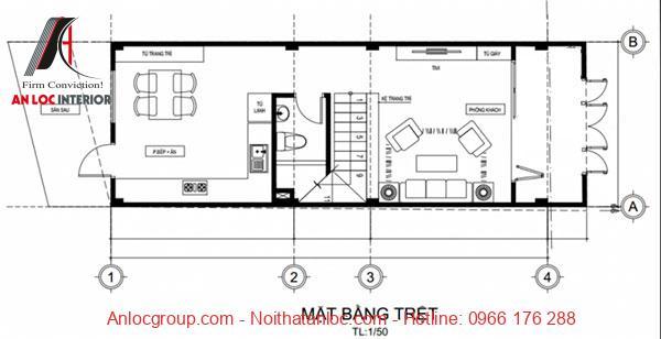 Bản vẽ thiết kế nhà phố 3 tầng với tầng trệt là khu vực bếp, phòng chức năng khác