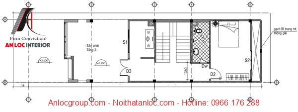 Mẫu nhà 50m2 có cách bố trí tầng 3 độc đáo, thu hút