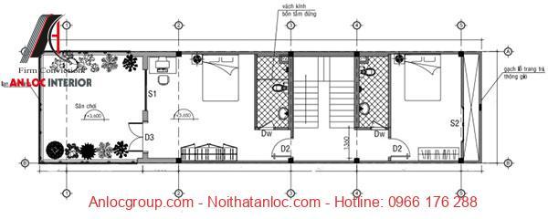 Tầng 2 có cây xnah đi kèm với đó là phòng ngủ tạo nên hiệu ứng thẩm mỹ đặc biệt