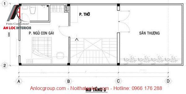 Thiết kế nhà 3 tầng 50m2 với tầng 3 là phòng ngủ, sân phơi