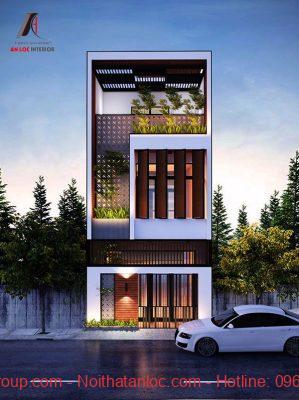 Mẫu nhà 3 tầng có mặt tiền là cánh cửa lớn mở rộng tạo hiệu qảu thẩm mỹ