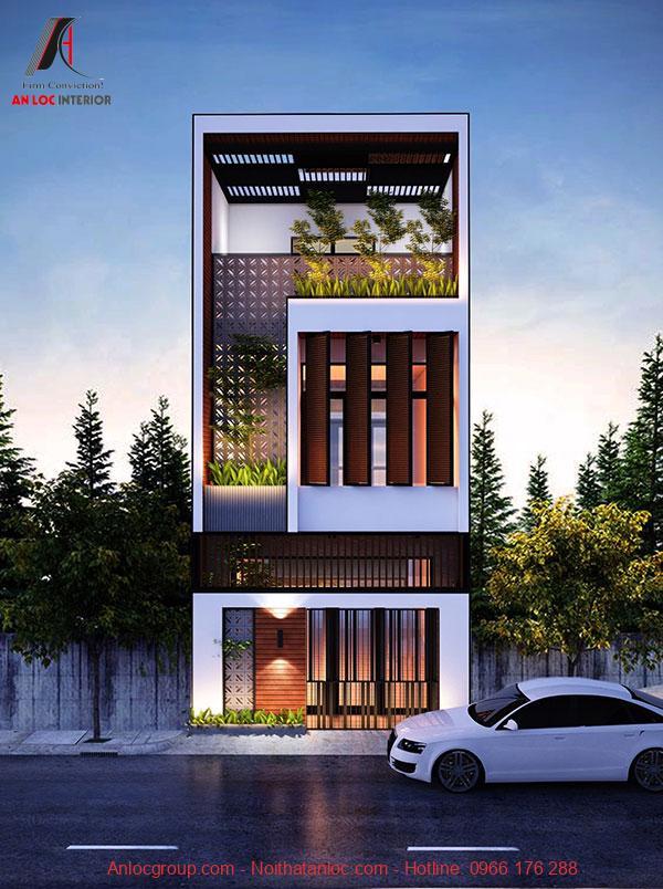 Mẫu nhà 3 tầng có mặt tiền là cánh cửa lớn mở rộng tạo hiệu qủa thẩm mỹ