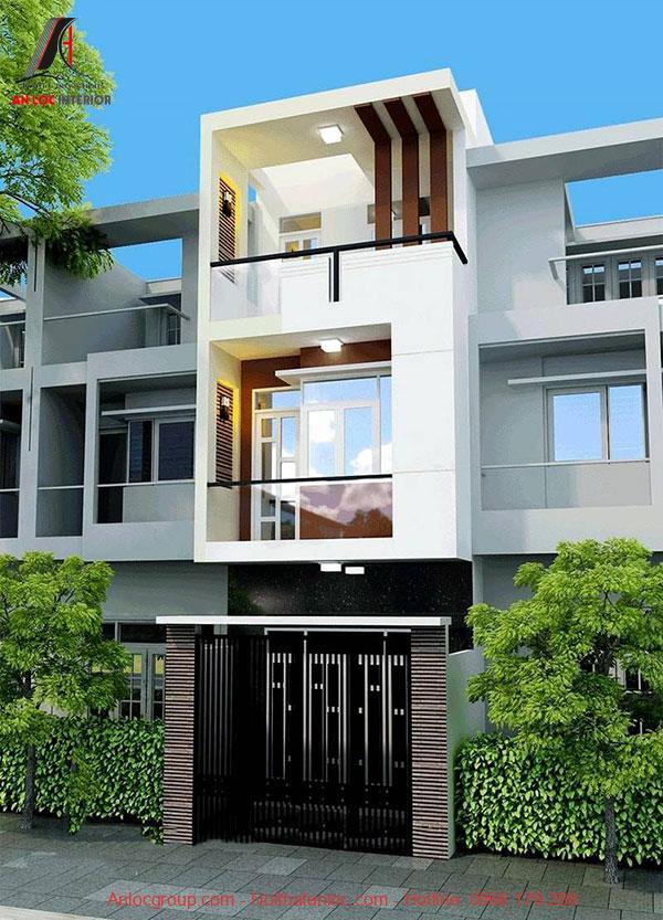 Mẫu nhà 3 tầng mặt tiền 5m có tầng trệt sử dụng màu sắc phá cách so với tầng 2,3
