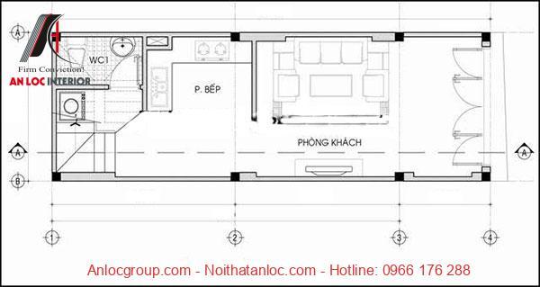 Bản vẽ nhà 3 tầng mô tả cách bố trí, sắp xếp các gian phòng của gia chủ