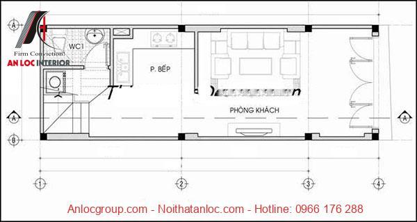 Tầng 1 thiết kế nhà 50m2 3 tầng gồm phòng bếp, phòng khách rộng rãi giúp nhu cầu sinh hoạt được nâng cao, hiệu qủa