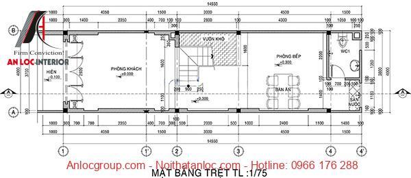 Bản vẽ nhà lệch tầng 4x15 chi tiết với các thông số được chú thích cụ thể