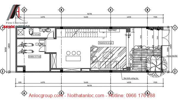 Bản vẽ tầng trệt thiết kế nhà lệch tầng 5x18 cụ thể