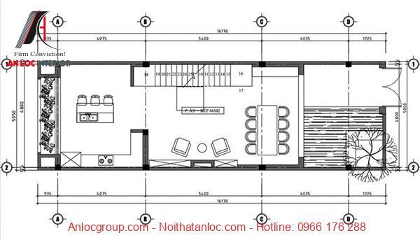 Bản thiết kế nhà 3 tầng 5x15m với cách bố trí công năng hiệu quả