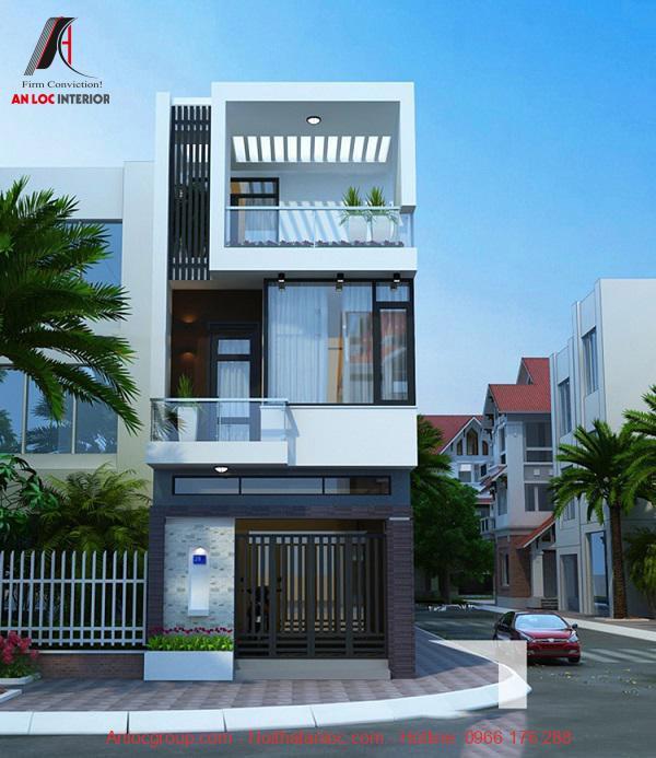 Thiết kế nhà 3 tầng sử ụng gam màu trắng tinh tế tạo vẻ đẹp sang trọng