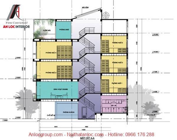 Bản vẽ thiết kế nhà lệch tầng 3x10m