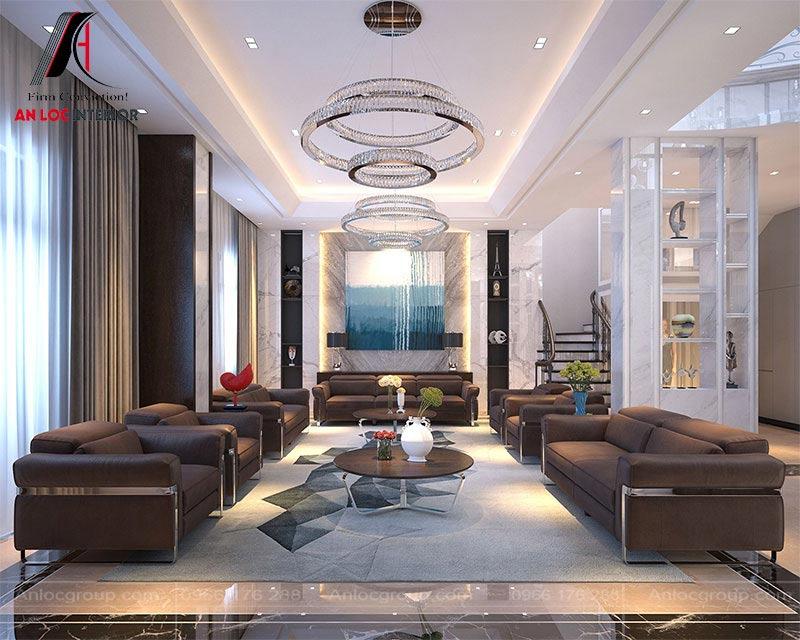 Thiết kế nội thất biệt thự có phòng khách sang trọng