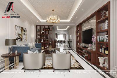 Thiết kế nội thất phòng khách nhà phố tại Hà Đông