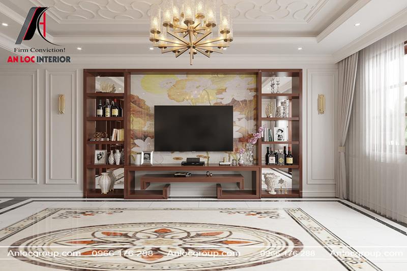 Kệ tivi bằng gỗ tự nhiên kết hợp họa tiết trang trí được gia chủ lựa chọn