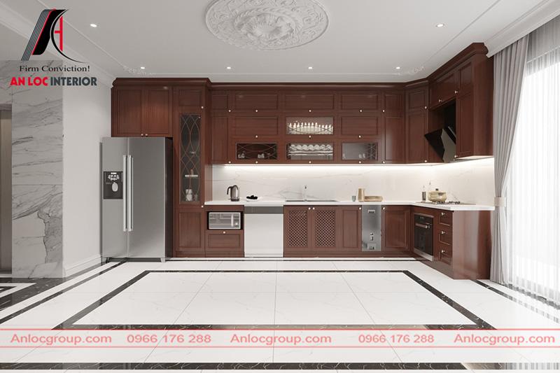 Tủ bếp từ gỗ Gõ Đỏ Pachy mang đến vẻ đẹp hiện đại, sang trọng