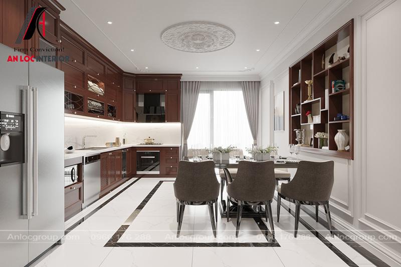Thiết kế phòng bếp gỗ tự nhiên mang đến không gian sang trọng