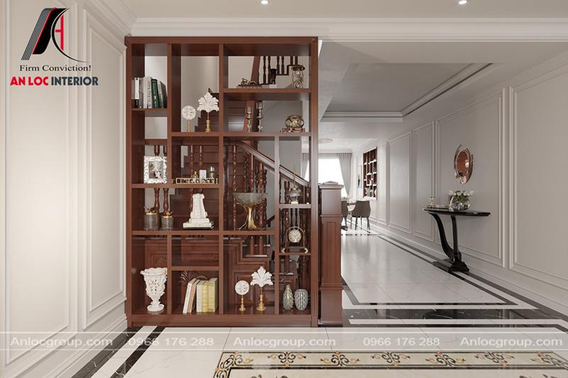 Giá đựng đồ thiết kế liền với trụ cầu thang đảm bảo diện tích sinh hoạt ấn tượng