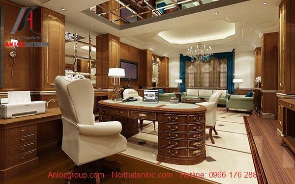 Thiết kế phòng làm việc sang trọng và rộng rãi