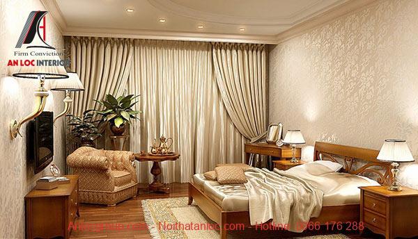 Tổng thể phòng ngủ có kích thước nội thất và gam màu tinh tế