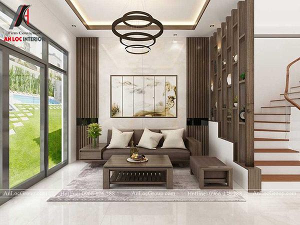 Mẫu 5 - Thiết kế phòng khách nhà ở với gỗ tự nhiên