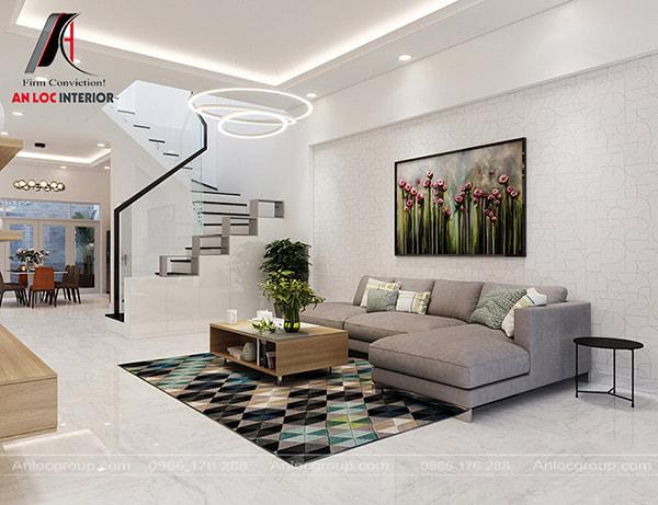 Mẫu 6 - Thiết kế phòng khách nhà ống có cầu thang 1 vế