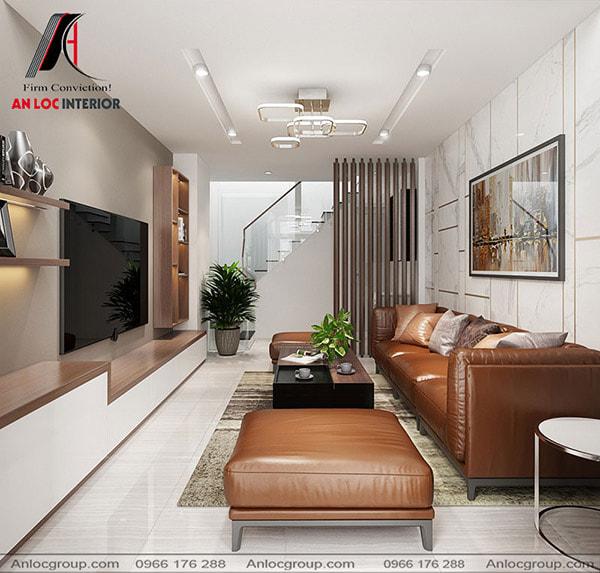 Mẫu 7 - Phòng khách đẹp với ghế sofa da và vách ngăn cầu thang