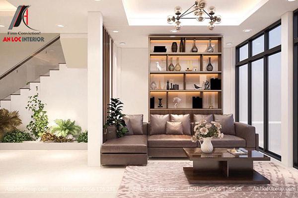 Mẫu 8 - Phòng khách hiện đại với ghế sofa, bàn trà, kệ trang trí, đèn chùm
