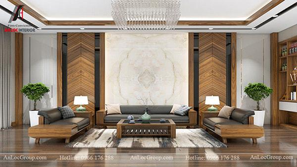 Mẫu 34 - Thiết kế nội thất phòng khách chung cư với đá và gỗ