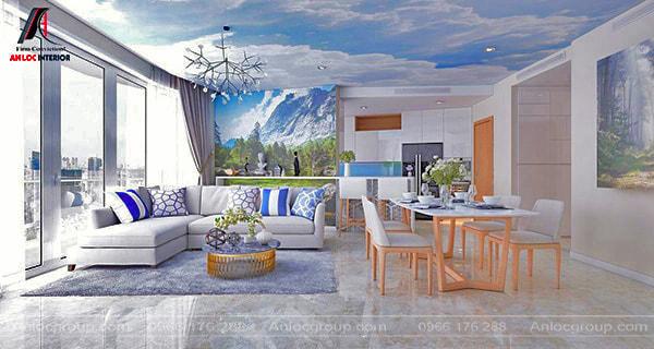 Đồ nội thất phòng khách tối thiểu phải có ghế sofa, bàn trà, kệ tivi