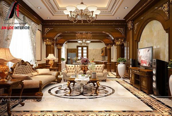 Mẫu 18 - Phòng khách biệt thự cổ điển với tone màu nâu và trắng