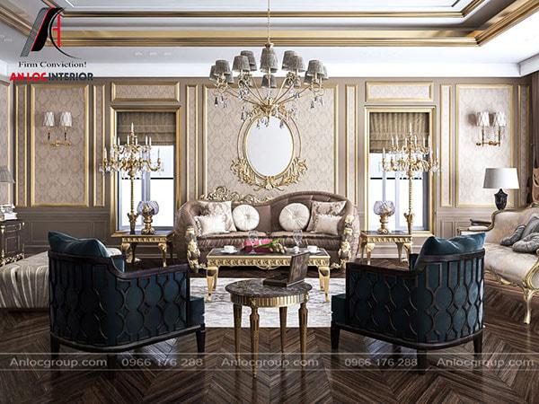 Mẫu 19 - Phòng khách đẹp với nội thất mạ đồng