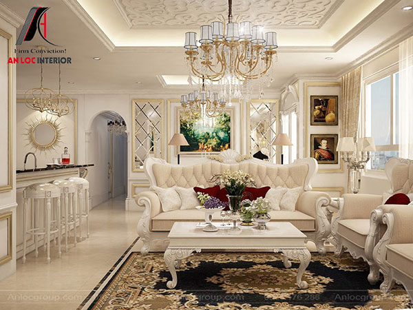 Mẫu 20 - Thiết kế phòng khách liền bếp phong cách cổ điển