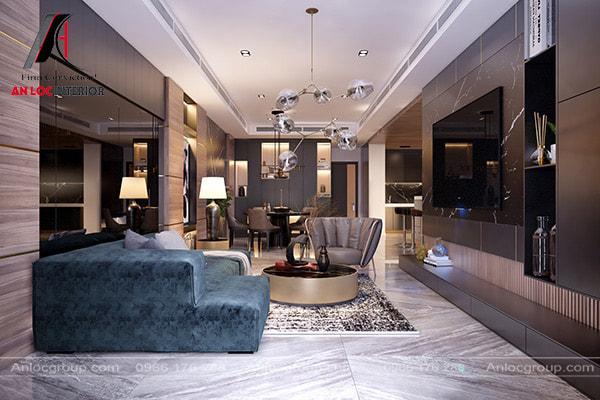 Phòng khách đẹp với ghế sofa bọc nhung