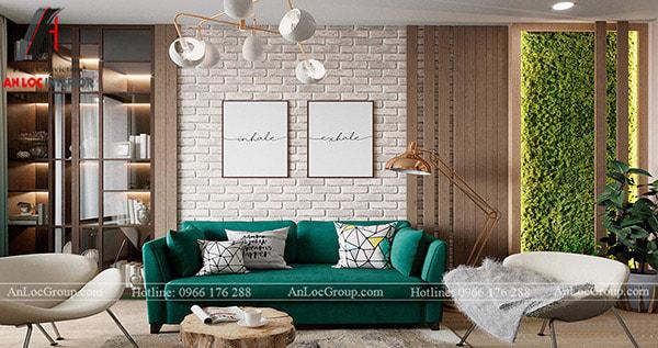 Giấy dán tường giả gạch giúp trang trí phòng khách hiện đại, độc đáo