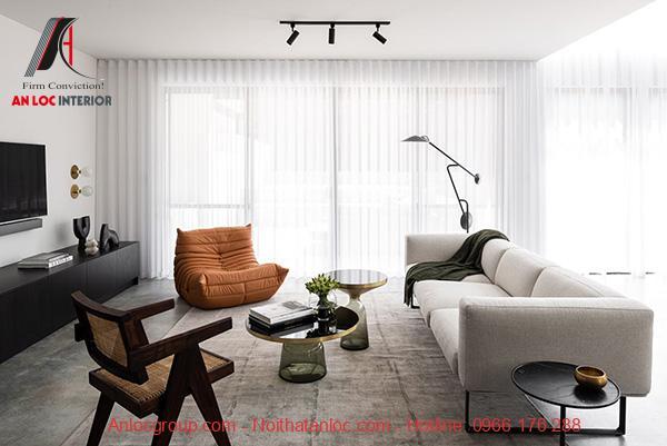 Phòng khách đơn giản có hiệu ứng ánh sáng tự nhiên giúp căn phòng luôn tươi sáng