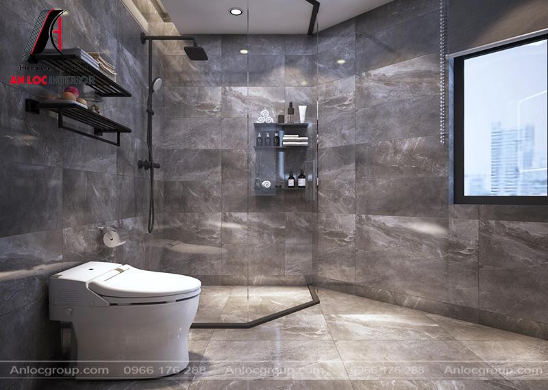 Chất liệu laminate vân đá giúp phòng tắm sạch sẽ, hiện đại